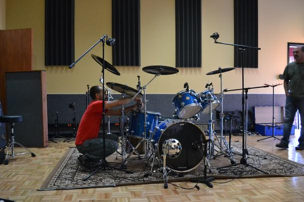 Metro 37 Recording Studio with a Moon Mic microphone on the kick drum