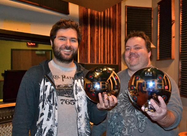 Matt Dalton and Kevin Sharpe with Moon Mic microphones